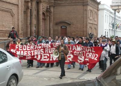 Demonstrationszug einer Lehrergewerkschaft in Bolivien (Foto: Benno Fladvad)